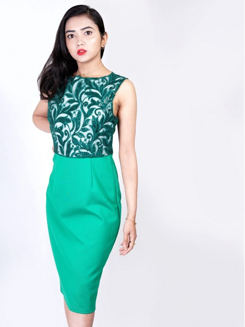 Boatneck Fitted Floral Bodycon Dress