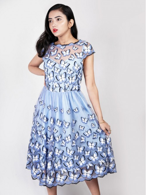 Boatneck Butterfly Printed Gather Dress