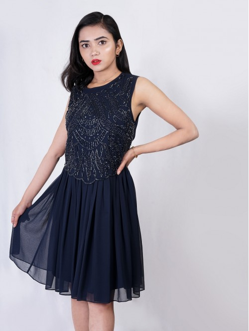 Boatneck Embroided Gather Dress