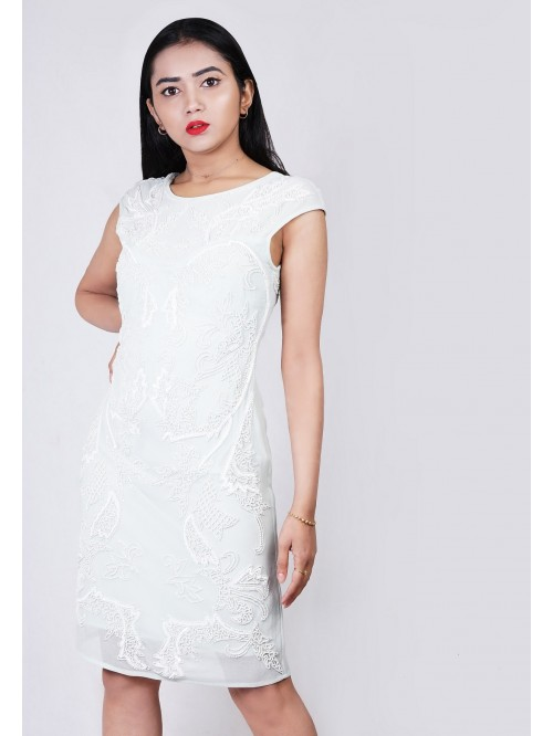 Round Neck Embroided Dress