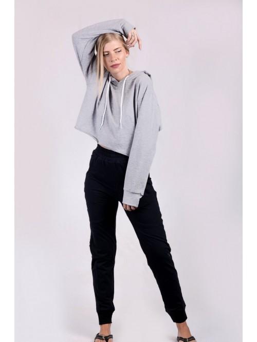 Grey Basic Crop Hoodie