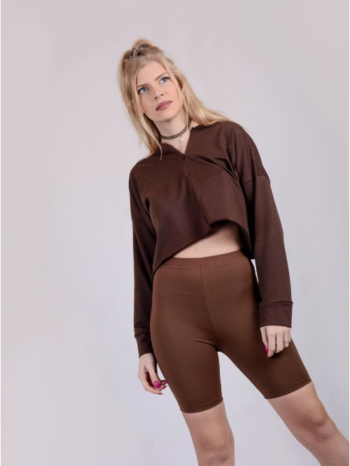 Front Zip Crop Sweatshirt