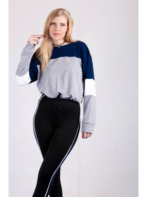 Color Block Drawstring Sweatshirt