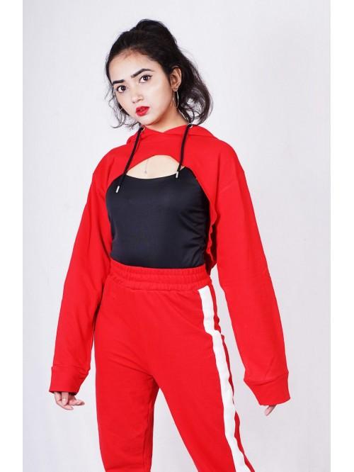 Red Super Crop Hoodie