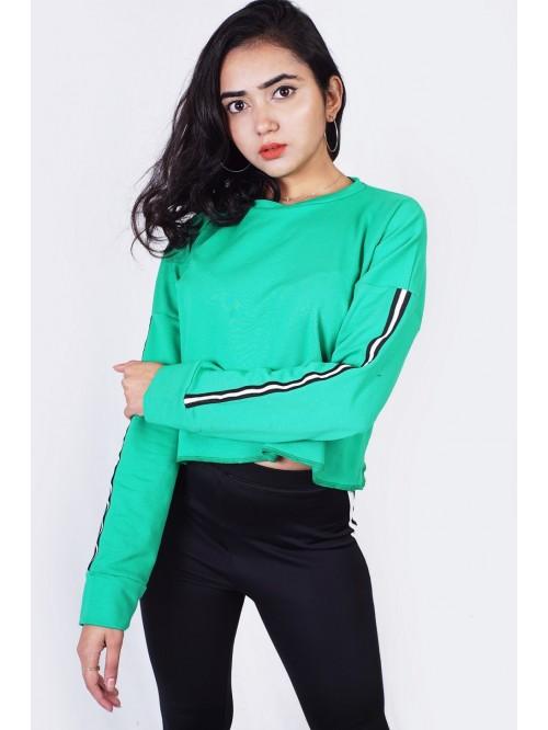 Plain Sweatshirt with Sleeve String