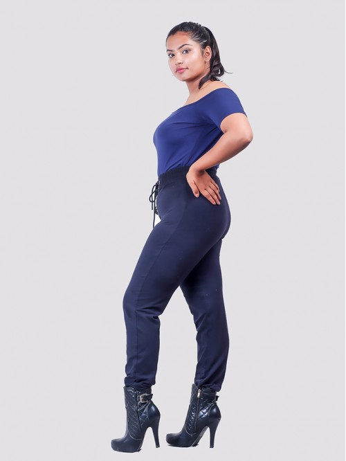 Navy Front Waist Lace Up Jogger