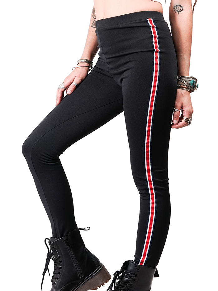 Biker Leggings with Red and White Border