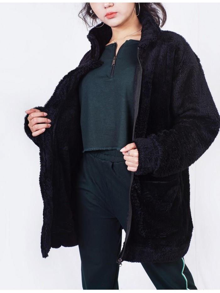 Black Terry Fur Jacket