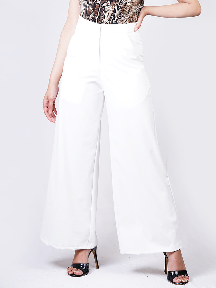 Flare Pants with Front Zip Details