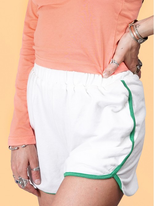 White Contrast Booty Shorts with Green Border