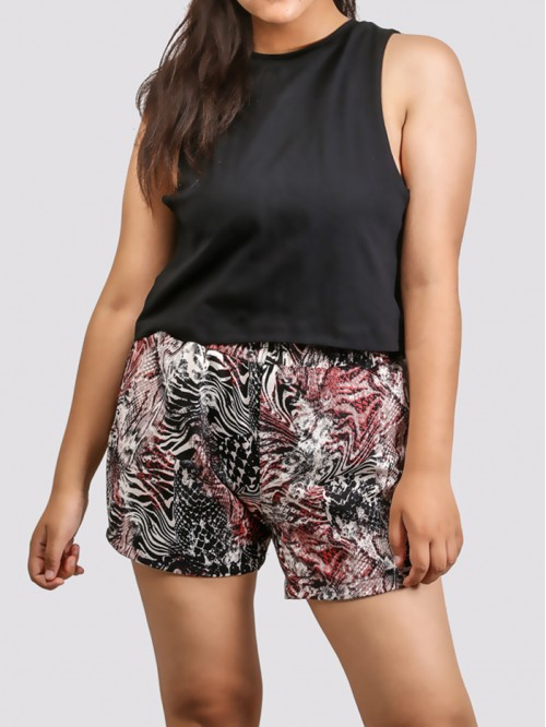 Purple Snake Printed Flare Short