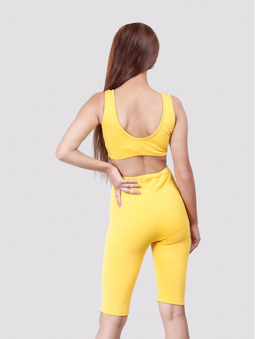 Yellow Basic Biker Short
