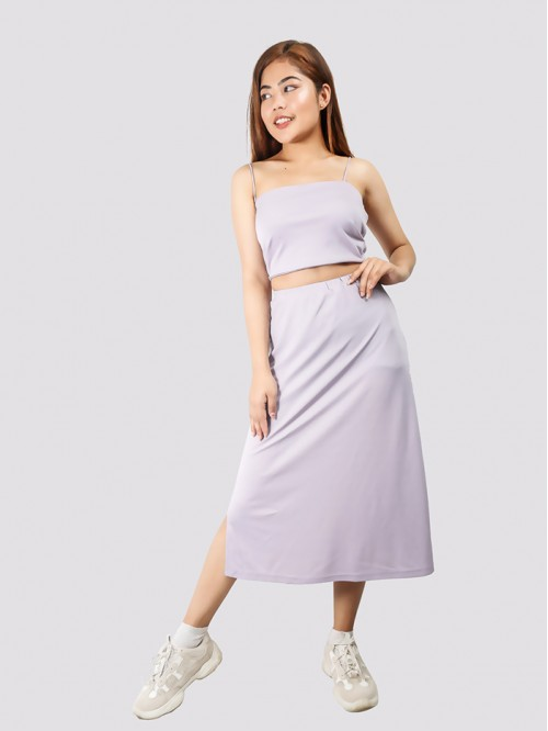 Lilac Side Slit A Line Skirt