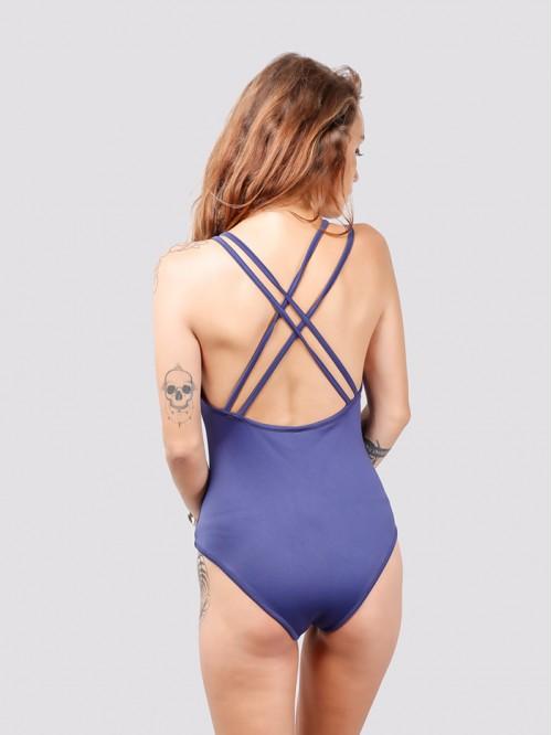 V Neck Double String Back Cross Swimsuit