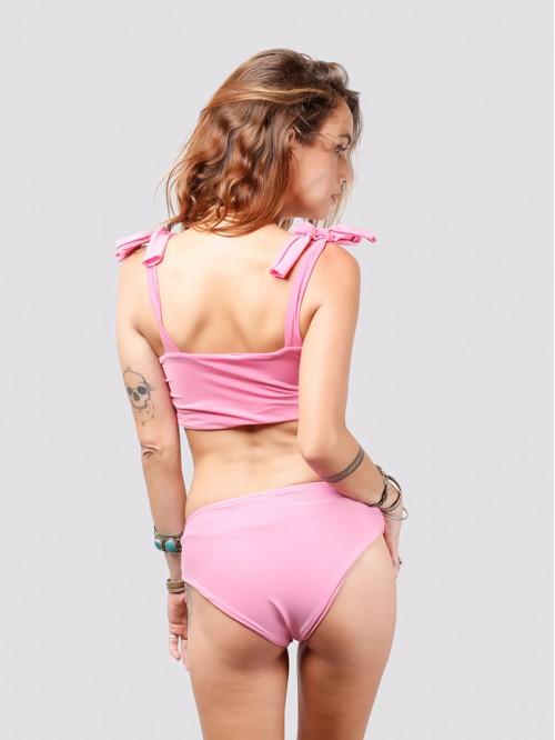 Baby Pink Shoulder Tie Up Bikini