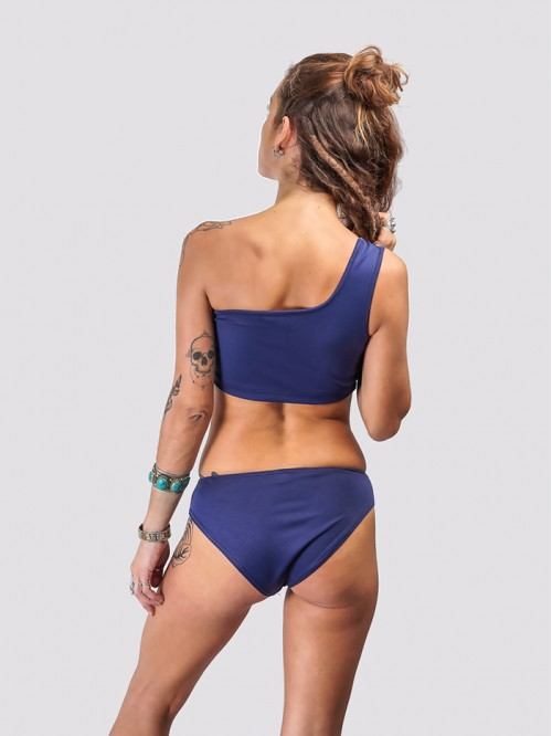 Dark Blue One Sided Shoulder Bikini