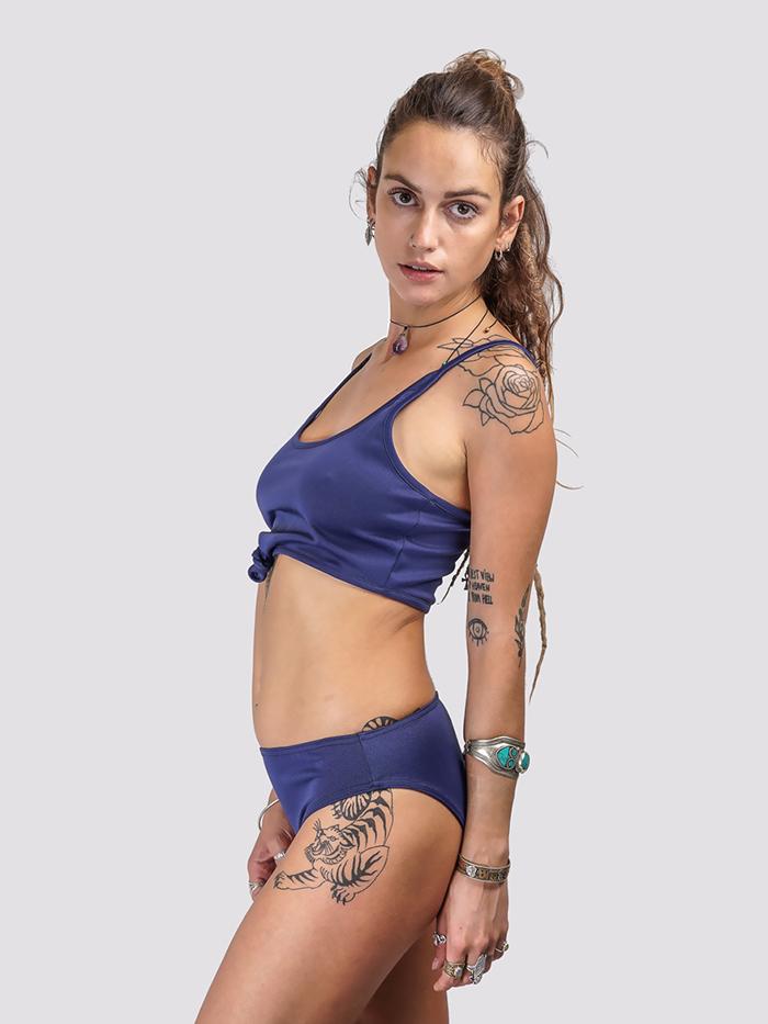 Dark Blue Sling Knot Bikini Set