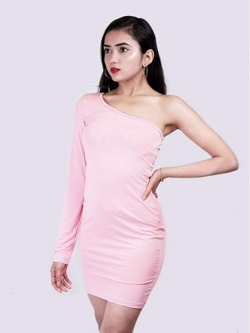 One Side Full Sleeve Bodycon Dress