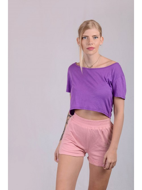 Purple Basic Crop Top
