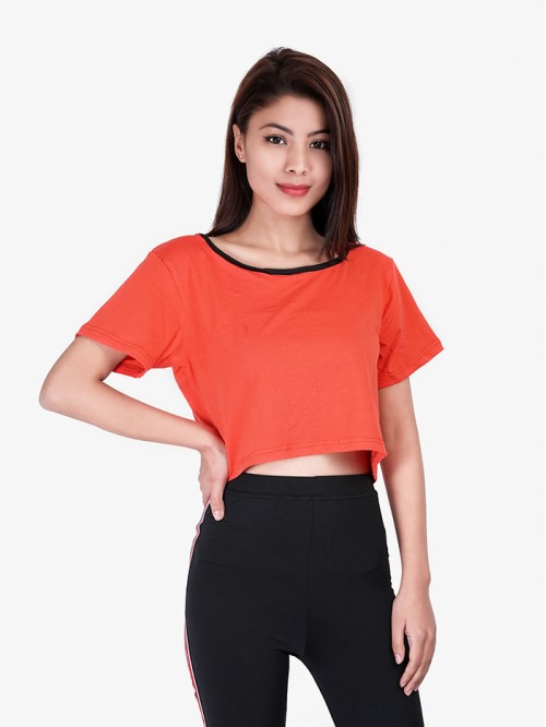 Orange Basic Contrast Crop Top