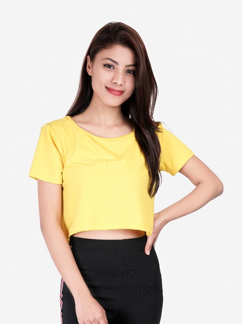 Yellow Basic Crop Top
