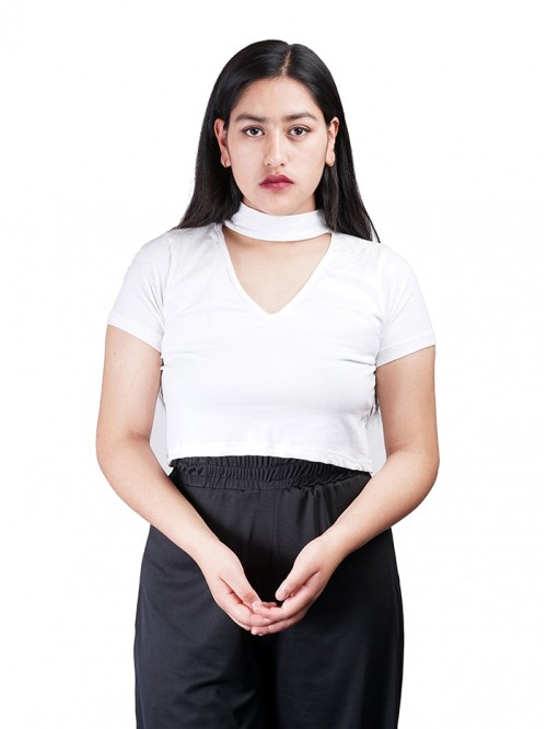 V-Neck Choker Crop Top
