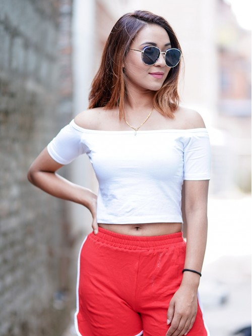 White Off-Shoulder Half Sleeve Crop Top