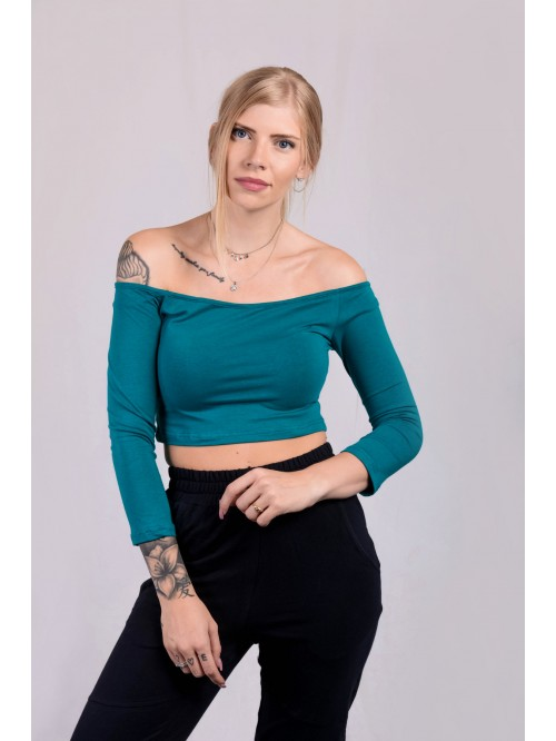 Off-Shoulder Full Sleeve Crop Top