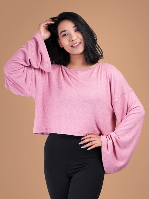 Crewneck Flare Sleeve Knit Top