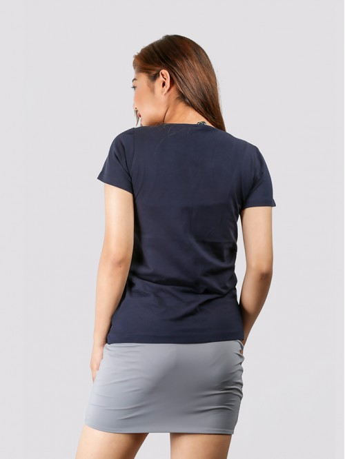 Navy Round Neck V Knotch Half Sleeve Top
