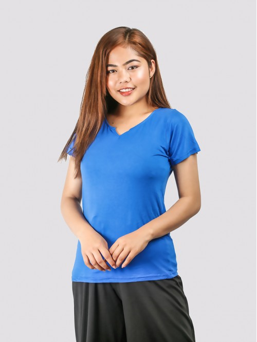 Blue Round Neck V Knotch Half Sleeve Top