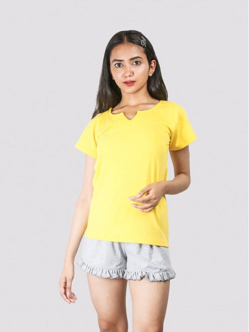 Yellow Round Neck V Knotch Half Sleeve Top