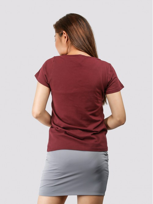 Maroon Round Neck V Knotch Half Sleeve Top