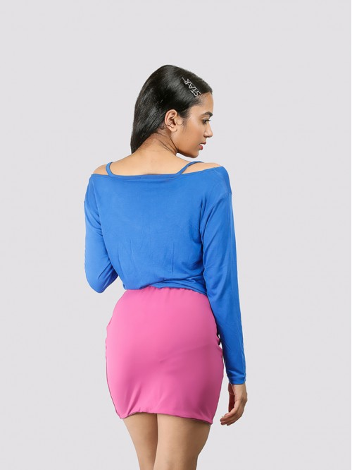 Royal Blue Full Sleeve Front Tie up Top