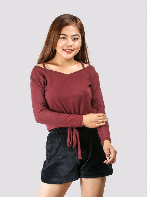 Maroon Full Sleeve Front Tie up Top