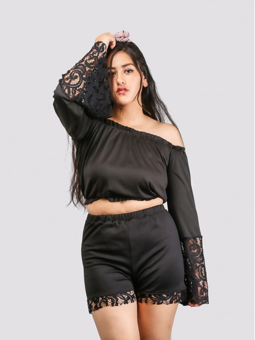 Black Off Shoulder Sleeve lace Detail Top