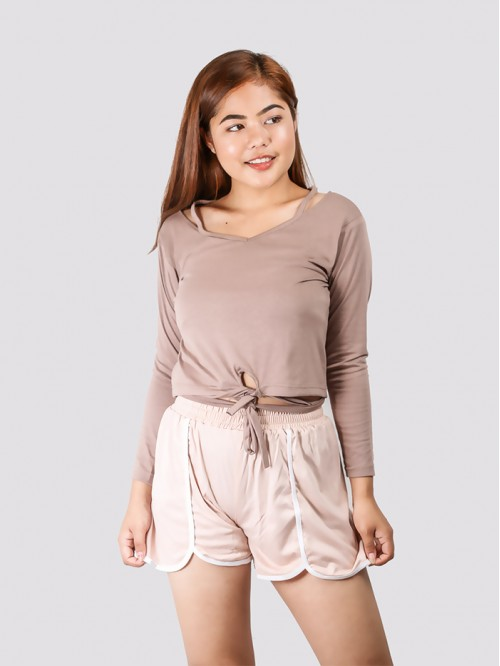 Beige Full Sleeve Front Tie up Top