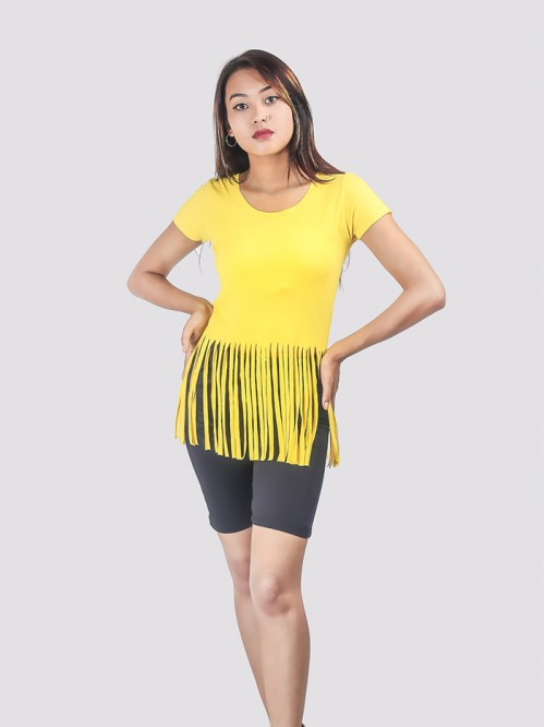 Yellow Round Neck Fringe Detail Top