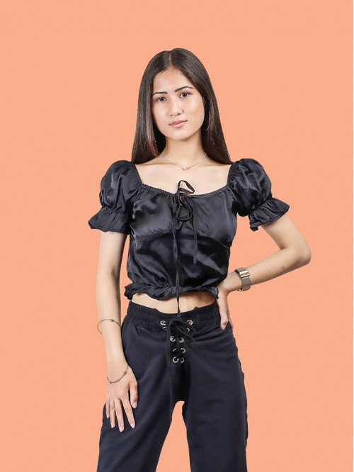 Black Milk Maid Satin Top