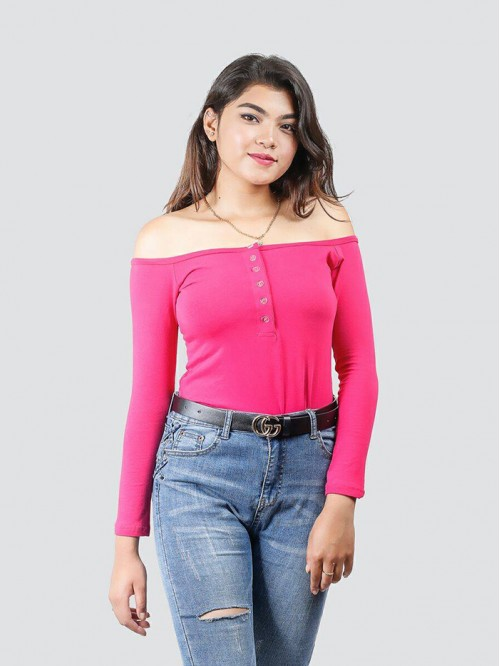 Pink Off Shoulder Button Details Full Sleeve Top