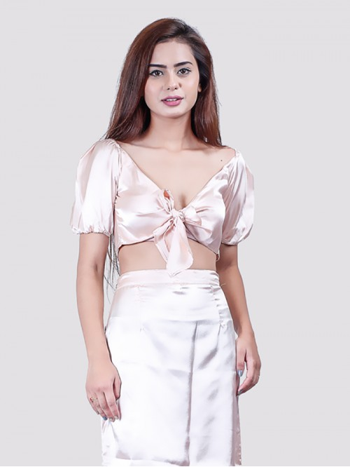Blush Milk maid Front Tie Up Satin Top
