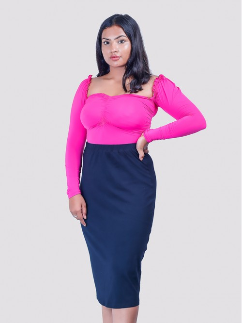 Pink Milkmaid Front Crease Mesh Top