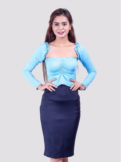 Baby Blue Milkmaid Front Crease Mesh Top