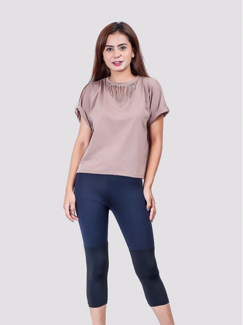 Nude Basic Neck Distress Folded Sleeve T-shirt