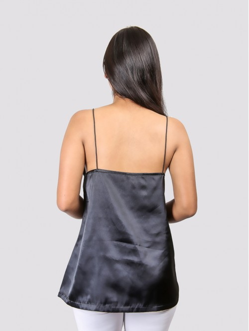 Black V Neck  A line Low Back Satin Top