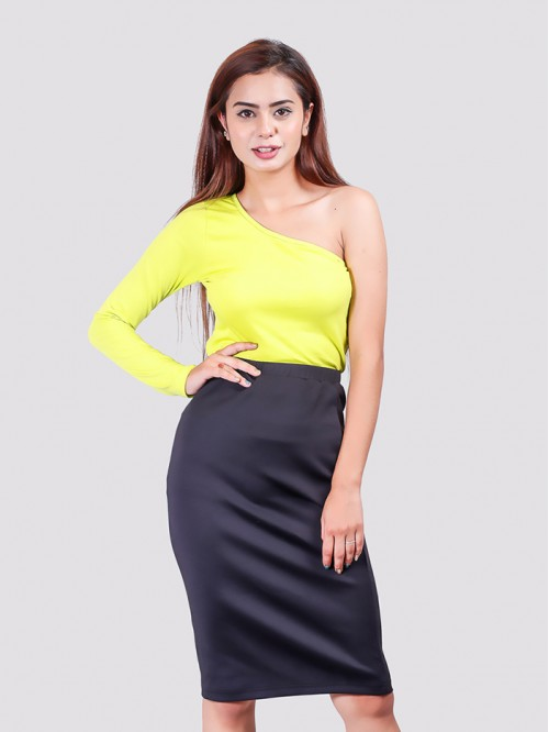 Lime One Side Full-Sleeve Crop Top