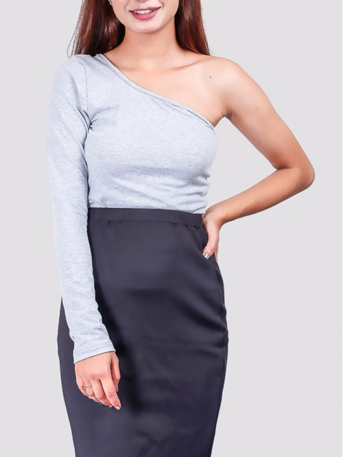 Grey One Side Full-Sleeve Crop Top