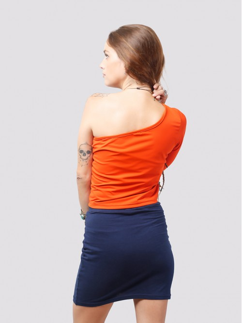 Orange One Side Full-Sleeve Crop Top