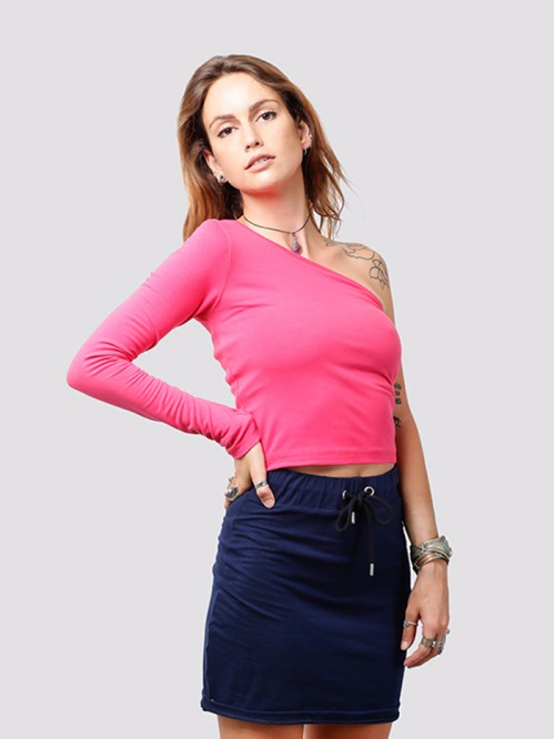 Pink One Side Full-Sleeve Crop Top