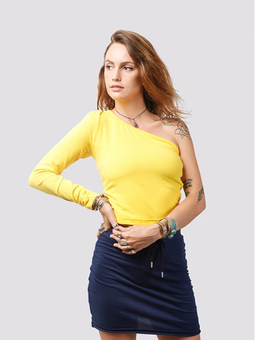 Yellow One Side Full-Sleeve Crop Top